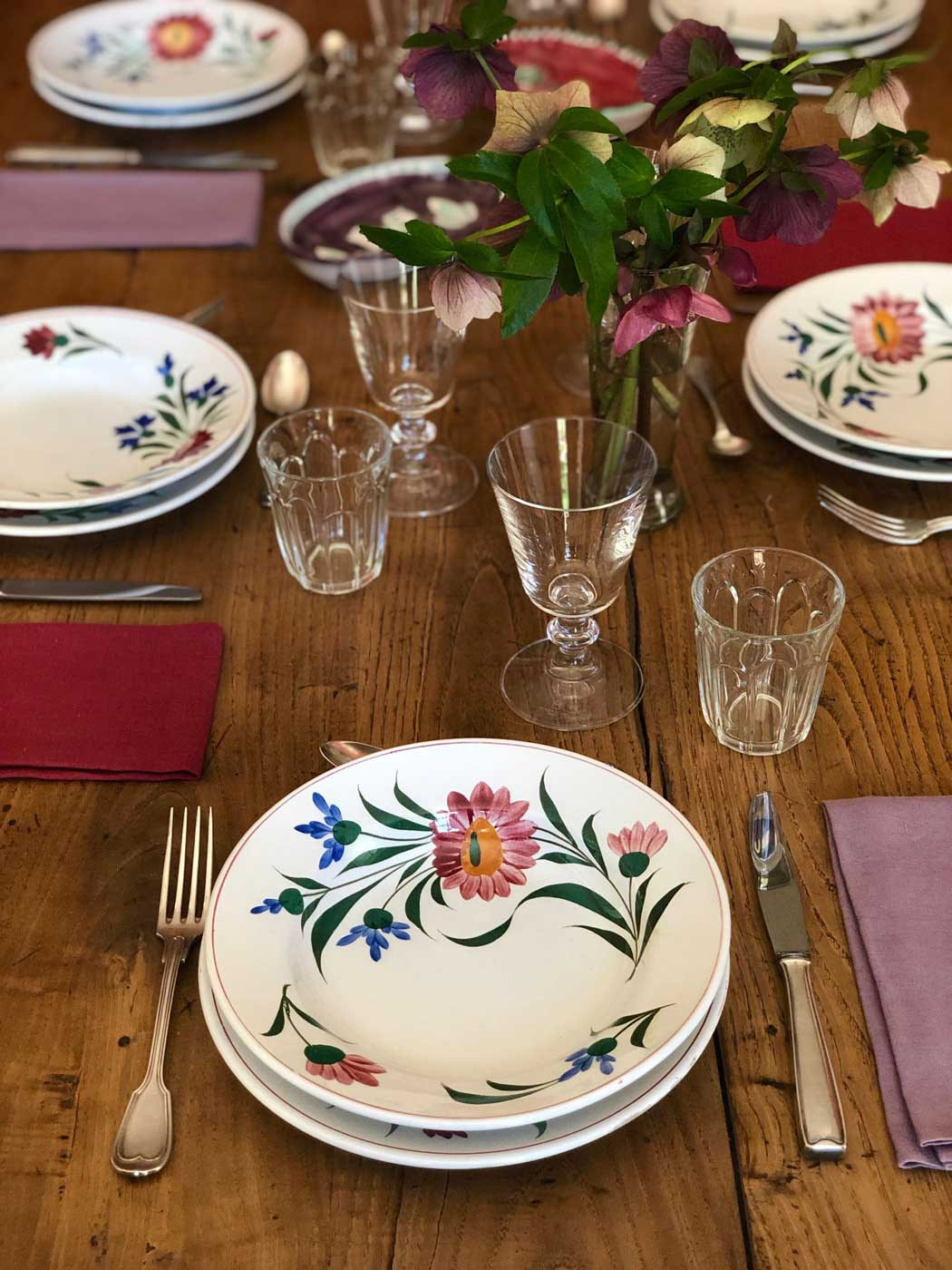table setting rustic spring flower plates